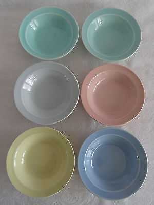 "Lot 6 LuRay  TS&T Fruit Berry Sauce Dishes 5 3/8"" Yellow Green Pink Blue Gray"