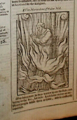 1570-Foxe's Book of Martyrs-Martyrdom of Walter Mill-Folio-Rare--Engraving