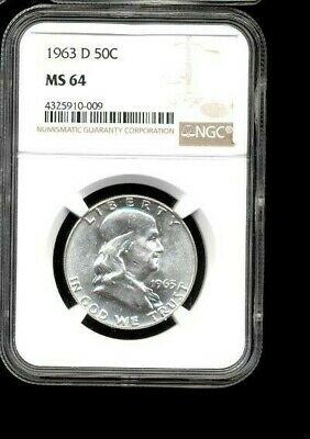 1963 D 50C MS64 NGC Silver Franklin Half Dollar Uncirculated Condition #0009