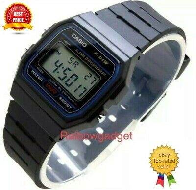 Genuine Casio F91W Classic Digital RETRO Sports Alarm Stopwatch Black Watch NEW