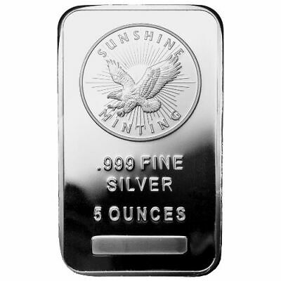 5 Oz Sealed Silver Bar - Sunshine Minting - New - Uncirculated - .999 Fine
