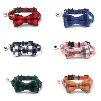 Chequered Bow Tie Cat Collar, Safety Release, Removable Bow and Bell