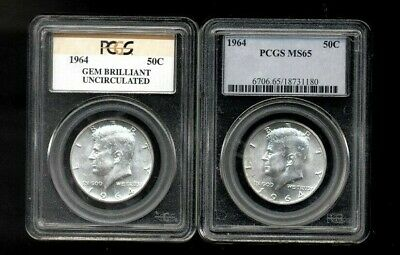 Set Of 2 1964 PCGS Graded Uncirculated Silver Kennedy Half Dollars Mint State