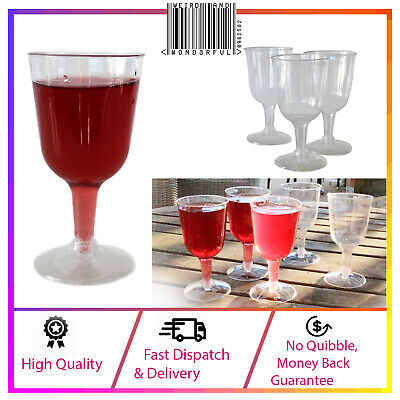 Plastic Wine Glasses X6 Clear & Durable Red White Outdoor Dining Drinking Cups
