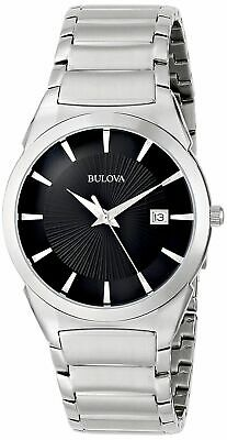 Bulova 96B149 Men's Classic Black Dial Silver-Tone Bracelet 38mm Dress Watch