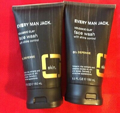 2 ** Every Man Jack Face Wash - Volcanic Clay - Shine Control Oil Defense  5 oz