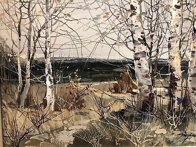 Chan Tin Yan (Chinese/Canadian) - Landscape Oil Painting On Canvas With Trees