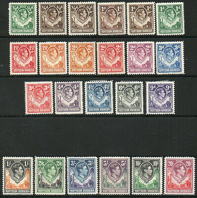 Northern Rhodesia 1938 KGVI set of mint stamps value to 20s  Mint Hinged