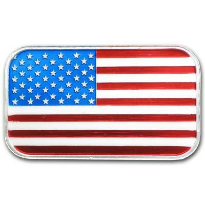 1 oz Colorized American Flag Silver Bar