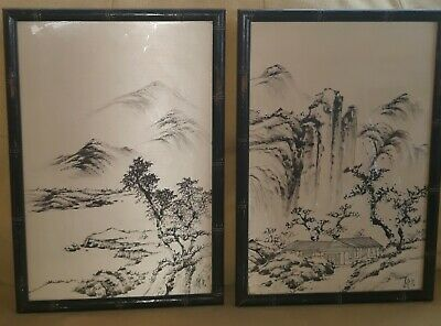 Pair Antique Chinese Watercolor & Ink On Silk Paintings Signed Orig. Frames