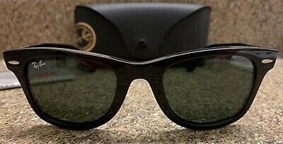 4327d26de6 New RAY-BAN RB 4340 601 Black Green Lens Wayfarer Italy 50mm