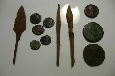 Ancient Roman Nice Artifacts/Roman Money coins of rare emperors/iron arrowheads