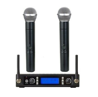 Professional UHF Dual Handheld Radio Cordless Wireless Microphone System 2 mics