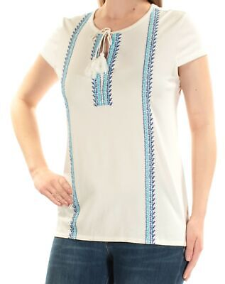 f9083e9918de40 TOMMY HILFIGER  59 Womens New 1222 Ivory Embroidered Short Sleeve Top M B+B