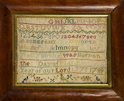 "18th Century Needlepoint Alphabet Sampler by Martha ""Matty"" Birkby dated 1789"