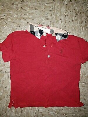 Red Burberry Infant Polo Size 18m Authentic