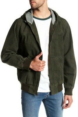 Genuine LEVI'S Mens Olive Heavy Duty Canvas Hooded Work Wear Bomber Jacket L NEW