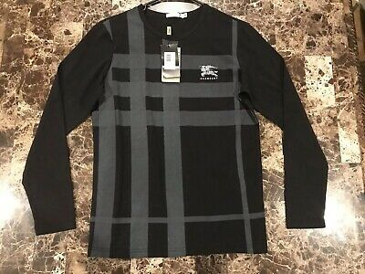 12812558 NEW WITH TAGS Burberry Long Sleeve T-shirt Black Logo - $45.00 ...