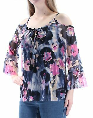 8bc0d618e716ef INC  59 Womens New 1079 Pink Black Floral Cut Out Tie Bell Sleeve Top M B