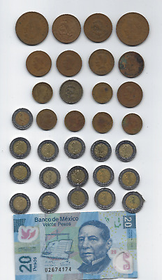 Mexico 32 Coins 1944 To 2018 & 20 Peso Note Very Good Cond Free Usa Shipping
