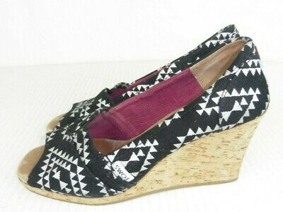 ad39f0cc3d4 Toms Womens Sz 7.5 Black White Peep Toe Cork Wedge Heel Slip On Shoes  Sandals