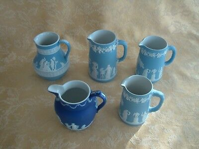 "Antique Wedgwood ""dipped"" White On Blue Jasperware Pitchers 5 Choices"