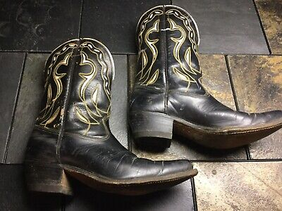 77e73be41d9 VINTAGE ACME INLAY cutout cowboy western boots black floral Cross size 7