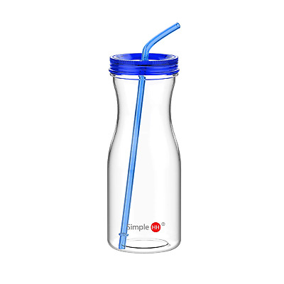 Simple HH SH&H 33oz New Cold Drink Tumbler with Straw, Blue