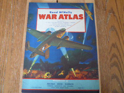 Vintage Rand McNally 1942 War Atlas 14 Pages World Map Awesome Air-Brushed Cover