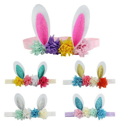 Easter Babies Headband Flower Rabbit Ears Hair Band Easter Sunday Multicolor