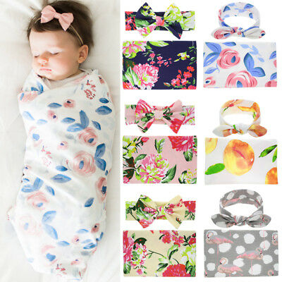 Cute Newborn Swaddle Blanket Baby Boys Girls Sleeping Bag Wrap Headband Cloth UK