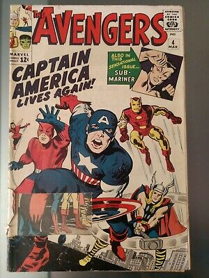 The Avengers #4 G/VG Revival Of Captain America 1st Silver Age Appearance