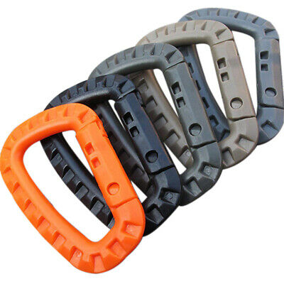 5pcs Outdoor Carabiner D-Ring Key Chain Clip Hook Camping Plastic Buckle Eb