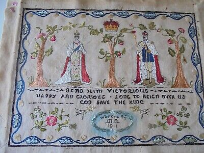 George V  and Queen Mary Coronation 1911 Embroidered Sampler
