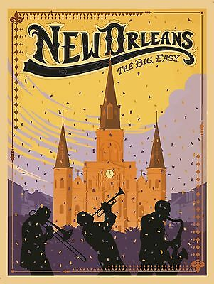 "New Orleans Vintage Illustrated Travel Poster art Print painting 36"" x 24"""