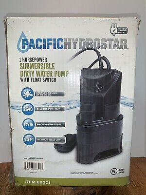 PACIFIC HYDROSTAR 1 Hp Submersible Dirty Water Pump w/ Float Switch Item 69301