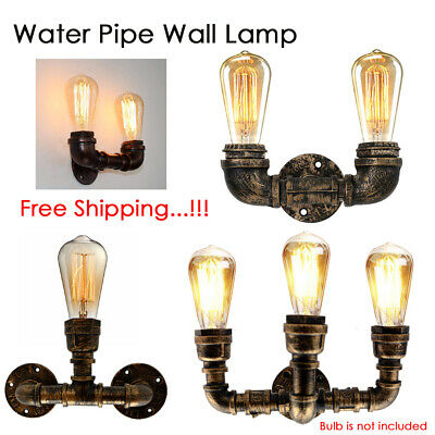 Vintage Industrial Sconce Loft Rustic Water Pipe Wall Light Porch Lamp Steampunk