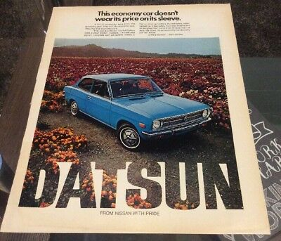 "1974 Datsun 1200 Sedan 10x14"" ORIGINAL AD - Great Garage Decor"