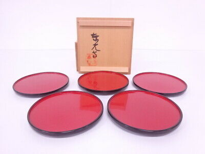 4086074: Japanese Tea Ceremony / Lacquered Circle Tray Set Of 5 Artisan Work