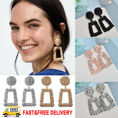 Trendy Punk Jewelry Metal Statement Dangle Drop Earrings Big Gold Geometric NEW