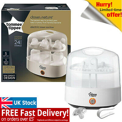 Tommee Tippee Electric Steriliser Black BABY BOTTLE Electric Steam STERILISER UK