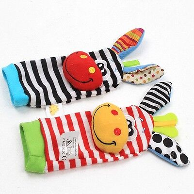 Cute Animal Infant Baby Kids Hand Wrist Bell Foot Sock Rattles Soft Toy Gift MN