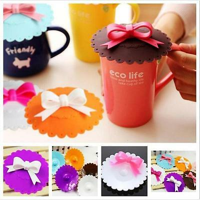 Lovely Bowknot Bow Silicone Anti-dust Mug Keep Cup Lid Leak Proof Cover MN