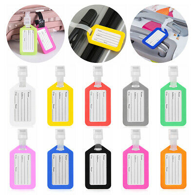 10pcs Luggage Tag Travel Suitcase Bag Id Tags Address Label Baggage Card Holder