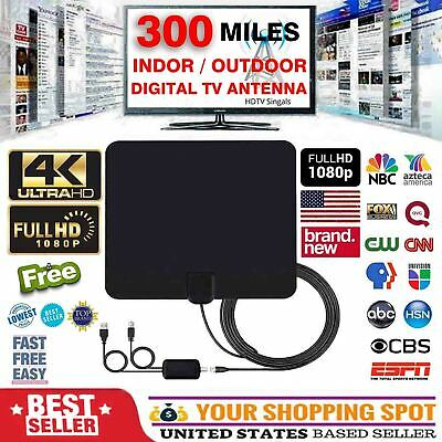 HDTV 1080P Outdoor Amplified Digital Antenna HD TV UHF VHF FM 300 Mile 13ft 4K