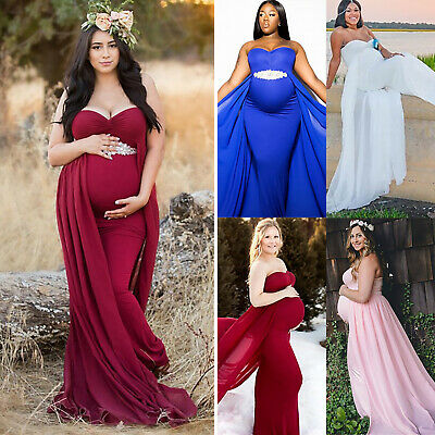 Maternity Womens Bandeau Pregnancy Formal Long Maxi Gown Dress Photography Props