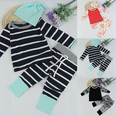 Newborn Toddler Infant Baby Boy Girl Clothes T-shirt Tops+Pants +Hat Outfits Set