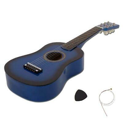 """New 23"""" Plywood 15 Frets Acoustic Guitar Blue w/ 6 String For Children Kids"""