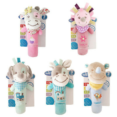 Soft Sound Animal Handbells Plush Rattle Bed Bells For Newborn Baby Toy Gifts