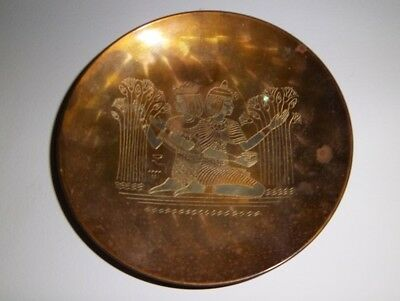 Egyptian Brass Tone Decorative Wall Plates Sphinx and Farmers 4 3/4 Inches